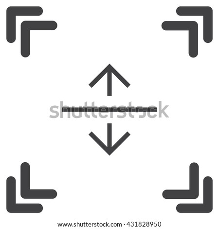 Arrows split horizontal sign line vector icon. Direction sign line icon.