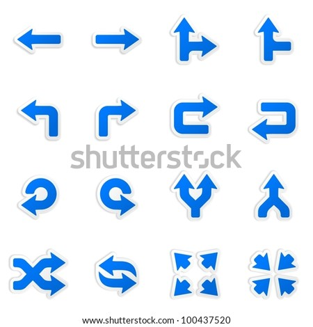 Arrows stickers. Vector icons set. - stock vector