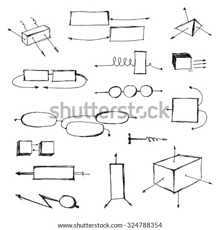 arrows technical set for design, hand drawn arrows set, sketched style