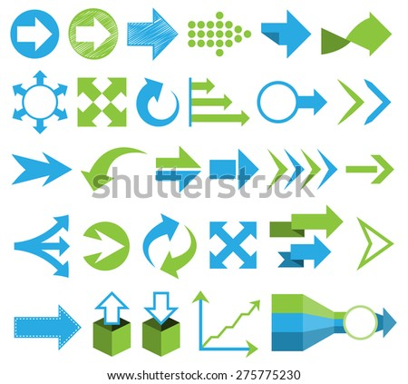 arrows vector set flat design