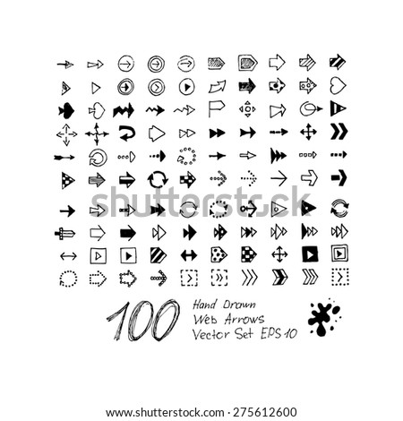Arrows vector set on white background. 100 hand drawn arrows. Grunge style. Use for website or presentation decoration. Vector EPS 10 - stock vector
