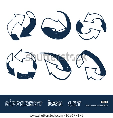 Arrows web icons set. Hand drawn sketch illustration isolated on white background - stock vector