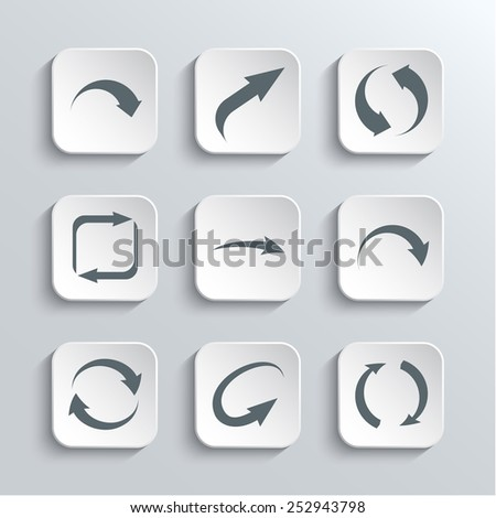 Arrows Web Icons Set - Vector White App Buttons Design Element With Shadow. Trendy Design Template - stock vector