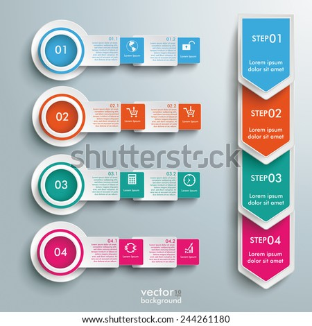 Arrows with squares and circles on the gray background. Eps 10 vector file. - stock vector