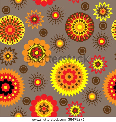 art abstract graphic stylization, red and yellow floral seamless pattern