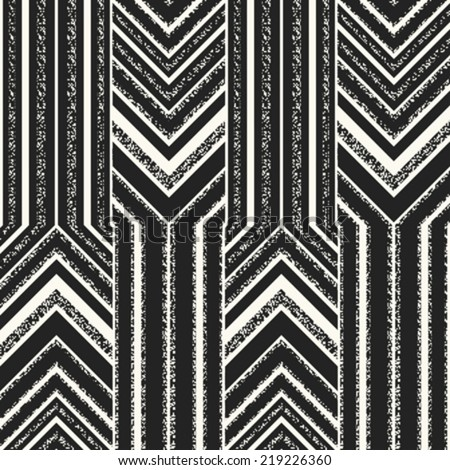 Art abstract noisy textured altered chevron seamless pattern. Vector. - stock vector