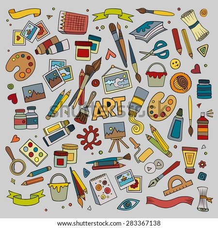 Art and craft hand drawn vector symbols and objects - stock vector