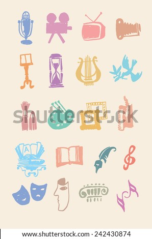 Art and culture. Vector set of logos - stock vector