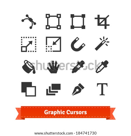 Art and graphic designer cursors icon set. EPS10 vector. - stock vector
