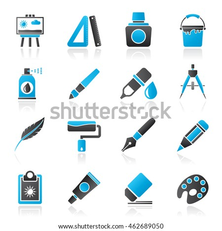 Art and painter icons - vector icon set