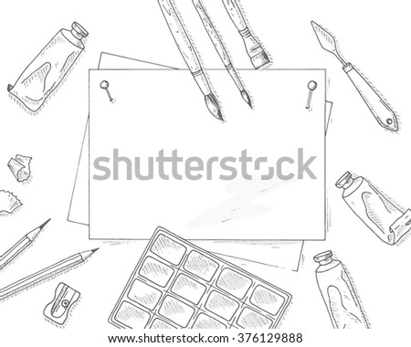 Art background. Art tools mockup. Hand drawn art background. Brushes, paints, pencils, empty paper sheet. Artist equipment background. Top view illustration.  - stock vector