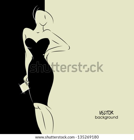 art background with beautiful young woman in party dress with clutch bag, sketch vector in black and white - stock vector