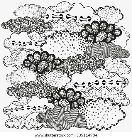Art background with vector abstract clouds. Pattern for coloring book. Artistically clouds. Made by trace from sketch. Ink pen. Zentangle. Black and white pattern in vector. doodle, henna. Tribal.  - stock vector