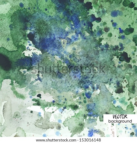 art background with watercolor stains, green and blue vector - stock vector