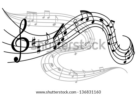 Art background with waves of musical notes. Jpeg (bitmap) version also available in gallery - stock vector