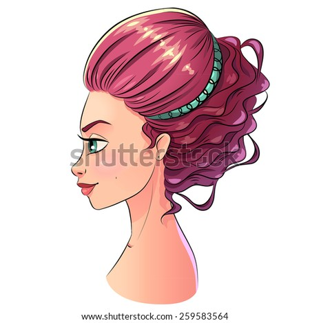 Art beautiful hair style girl portrait, bright pastel color with black stroke contour. Vector clipart isolated on white. - stock vector