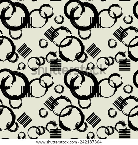 art black graphic geometric seamless pattern, square background with naive circle grunge ornament