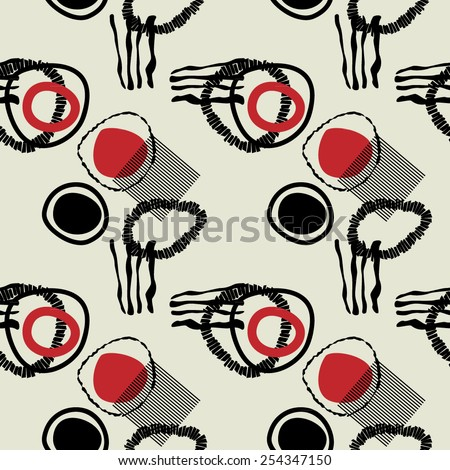 art black graphic geometric seamless pattern, square background with sketched circle ornament in art deco style - stock vector