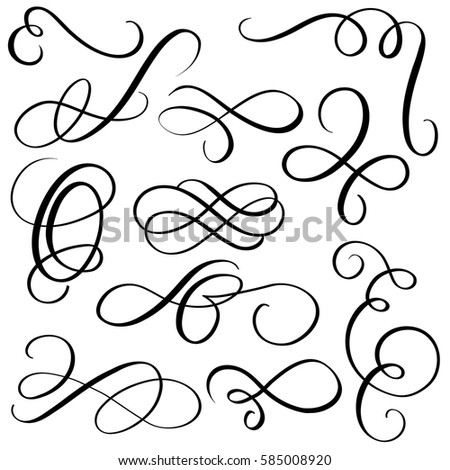 Art Calligraphy Flourish Vintage Decorative Whorls Stock