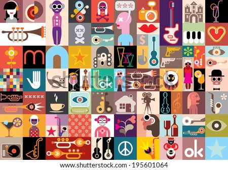 Art collage, vector illustration. Patchwork seamless wallpaper. - stock vector