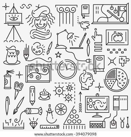 Art , creative process - set vector icons - stock vector