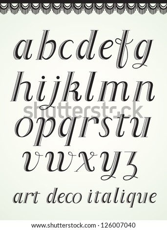 Art Deco Alphabet, Italic Small Caps