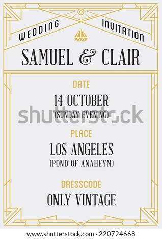 Art Deco and Nouveau Epoch 1920's 1930's and 1940's Gangster Era Vector Invite - stock vector