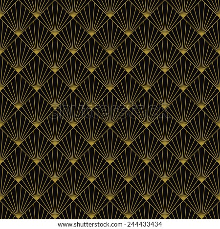 art deco art deco sun rays pattern. can be tiled seamlessly. - stock vector