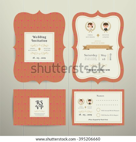 Art Deco Cartoon Couple Wedding Invitation Card RSVP Set Gold and Orange on wood background - stock vector