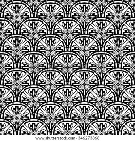 Art deco floral waves pattern. Vintage vector pattern reminiscent art deco style wave seamless.