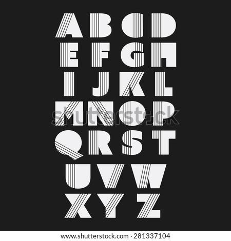 Art Deco Font Set - Vintage Vector Design. Retro Typography. - stock vector