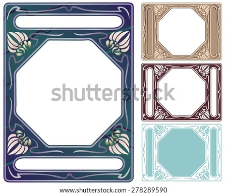 Art deco frame, abalone inlaid with colored mother of pearl. - stock vector