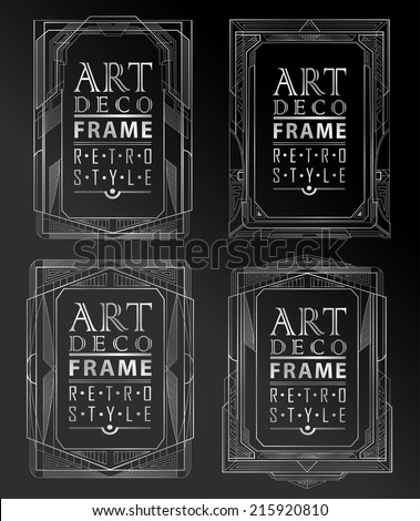 Art deco geometric vintage frame can be used for invitation, congratulation - stock vector