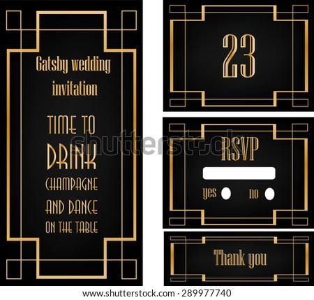 Art deco great gatsby wedding theme stock vector hd royalty free art deco great gatsby wedding theme invitation template stopboris