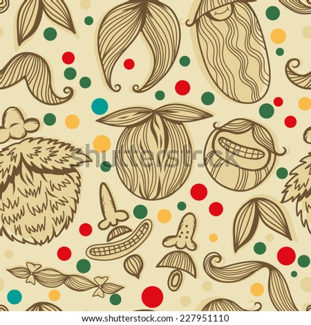 Art Deco Mustache seamless pattern, retro style, vector illustration - stock vector