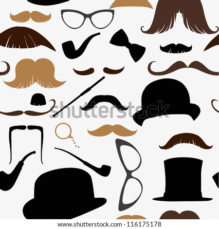 Art Deco seamless pattern, retro style, vector illustration mustache, hat, sunglasses, tube - stock vector