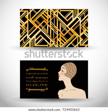 Art deco style business card sample stock vector 724903663 art deco style business card sample text abstract vintage patterns and flapper girl reheart Gallery