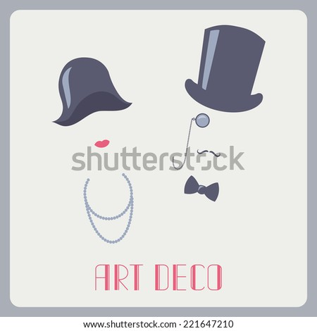 Art deco style lady and gentleman abstract portraits - stock vector