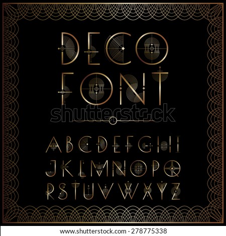 Art Deco style lettering in gold - stock vector