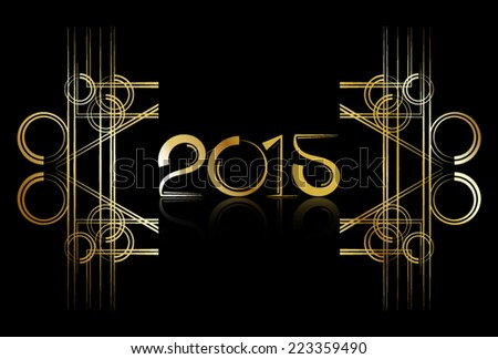 Art Deco style 2015 New Year sign in metallic gold (vector) (jpg available) - stock vector
