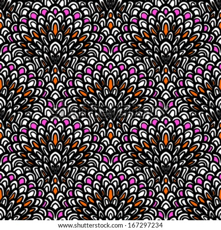 Art deco vector floral pattern hand drawn with black line Seamless texture for web, print, wallpaper, Christmas gift wrapping, home decor, winter fashion, wedding invitation background, textile design - stock vector