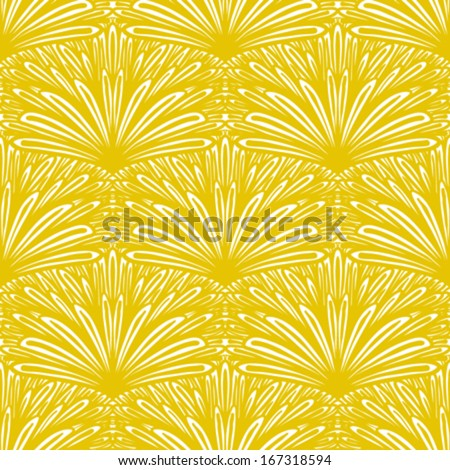 Art deco vector floral pattern in golden yellow color. Seamless texture for web, print, wallpaper, Christmas gift wrapping, home decor, winter fashion, wedding invitation background, textile design - stock vector