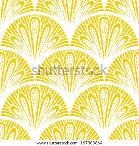 Art deco vector geometric pattern in bright yellow. Seamless texture for web, print, wallpaper, Christmas gift wrapping, home decor, winter fashion, wedding invitation background, textile design - stock vector
