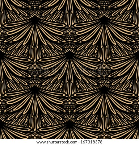 Art deco vector geometric pattern in brown color. Seamless texture for web, print, wallpaper, Christmas gift wrapping, home decor, winter fashion, wedding invitation background, textile design - stock vector