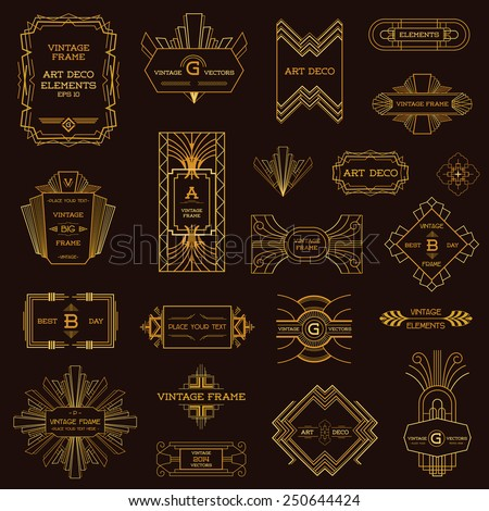 Art Deco Vintage Frames And Design Elements In Vector Stock Vector