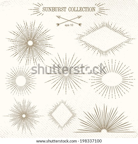 Art Deco Vintage sun burst frames and design elements for your design. Great for retro style projects. Vector - stock vector