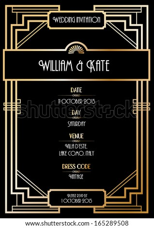 art deco wedding invitation card vector/illustration - stock vector