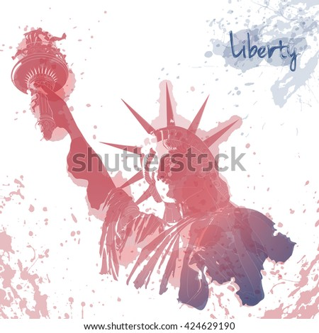 Art design of Statue of Liberty, ink and watercolor painting. Design for fourth July celebration USA. American symbol. - stock vector