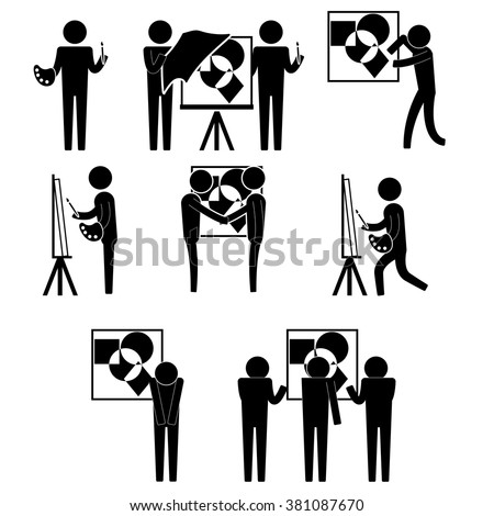 art exhibition for artist and selling painting icon sign symbol vector pictogram