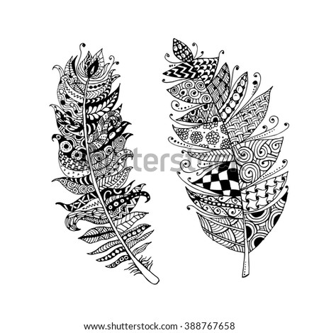 Art feather, zentangle style for your design - stock vector